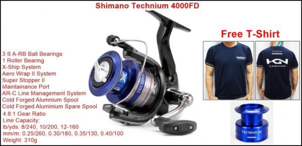 Shimano Technium 4000FD With Free T-shirt